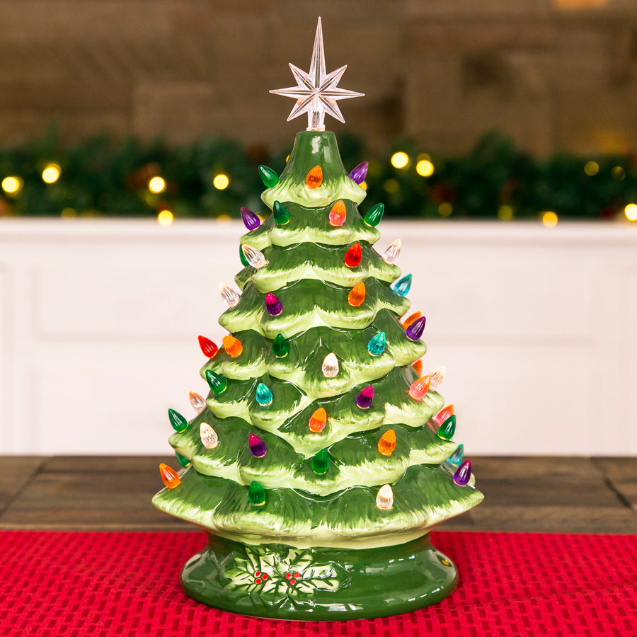 15in pre lit hand painted ceramic tabletop christmas tree w lights