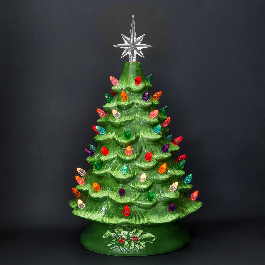 15in Pre-Lit Hand-Painted Ceramic Tabletop Christmas Tree w/ Lights