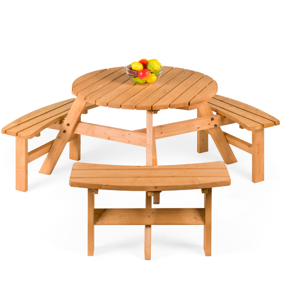6 Person Wooden Picnic Table Brown Best Choice Products
