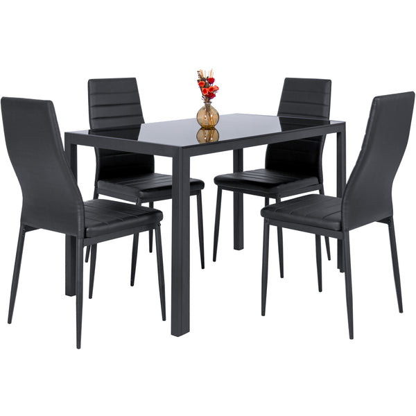 Best Choice Products 5 Piece Kitchen Dining Table Set W/ Glass Top And 4 Leather Chairs Dinette- Black