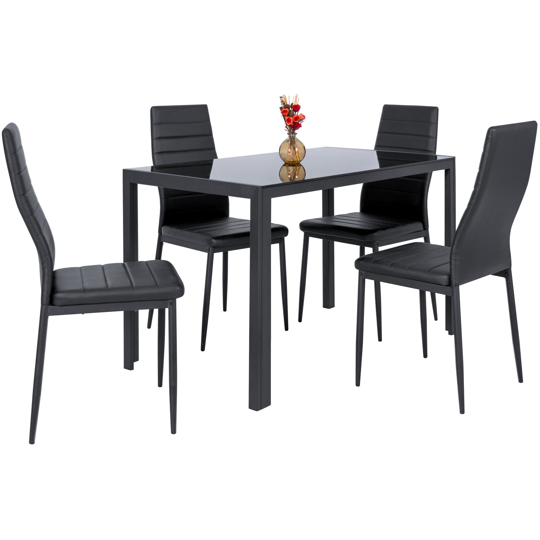 5-Piece Dining Table Set w/ Glass Top, Leather Chairs - Black ...