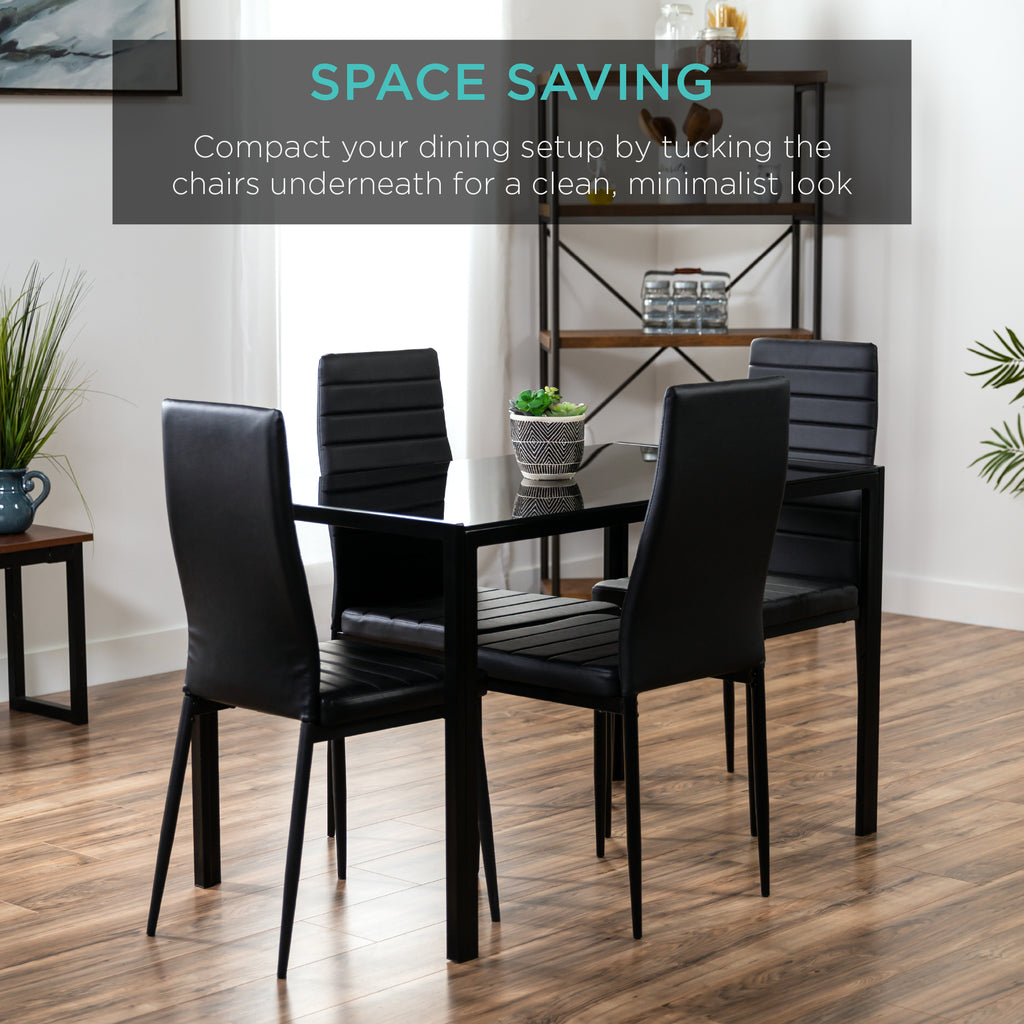 5-Piece Dining Table Set w/ Glass Top, Leather Chairs