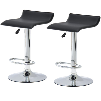 Best Choice Products Set of 2 Leather Barstools W/  Adjustable Hydraulic Lift And Swivel- Black