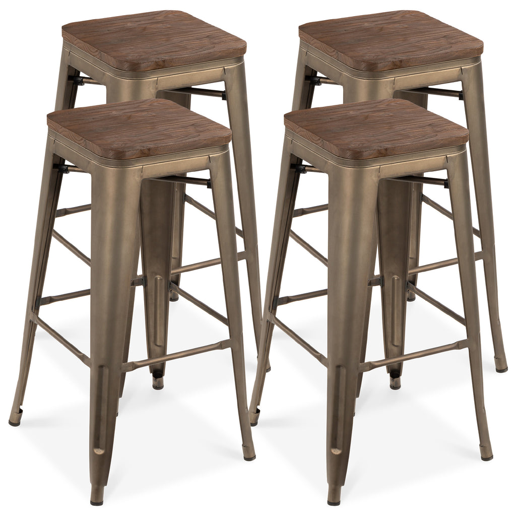 Set of 4 Industrial Steel Backless Bar Stools w/ Wood Seats - Bronze