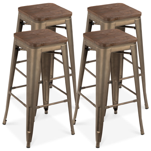 Set of 4 Industrial Style Steel Bar Stools w/ Wood Seats - Bronze