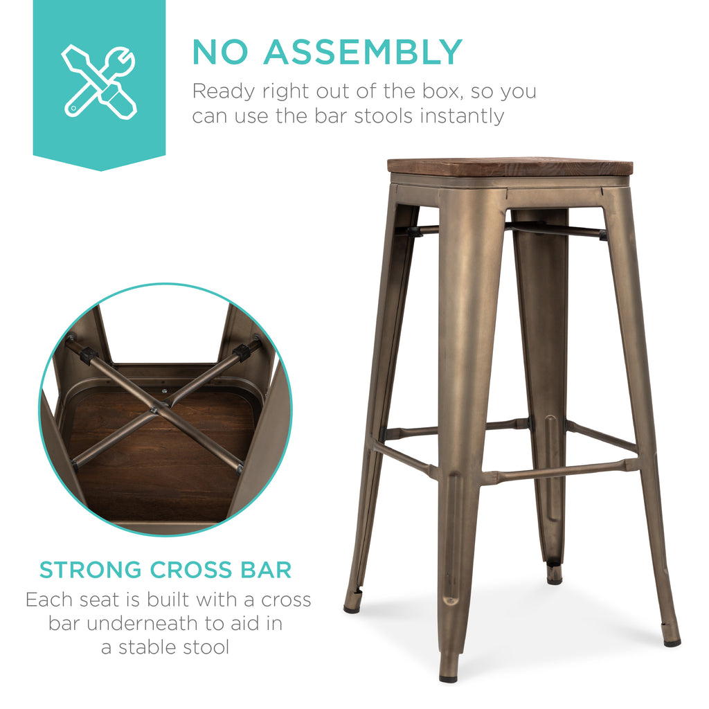 Set of 4 Industrial Steel Backless Bar Height Stools w/ Wooden Seats - 30in