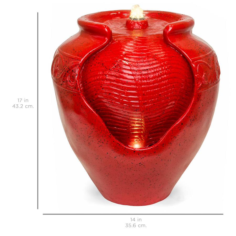 Best Choice Products Outdoor And Indoor Glazed Jar Fountain W/ Multicolor LED Light - Red
