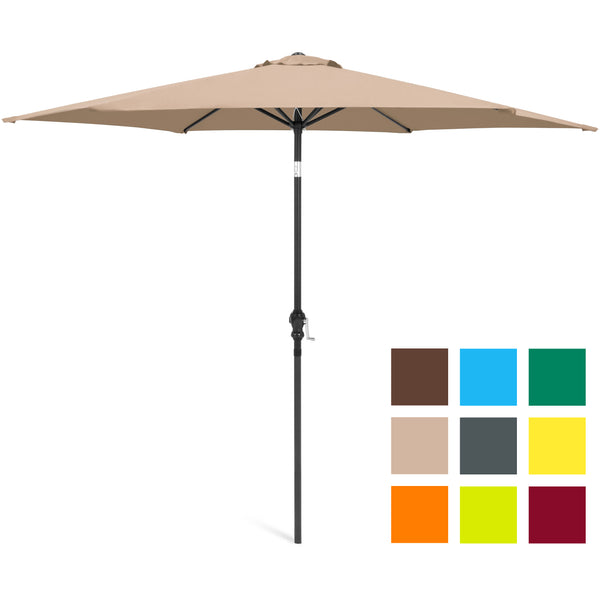 10FT Steel Market Outdoor Patio Umbrella Crank, Tilt Push Button Multiple Colors