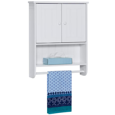Best Choice Products Double Doors Bathroom Wall Cabinet Storage- White