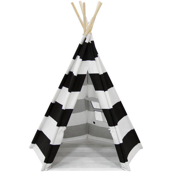 Best Choice Products Indoor/Outdoor 5-Sided 6' Kid's Canvas Teepee Tent Playhouse w/ Carrying Case, White Black Stripes