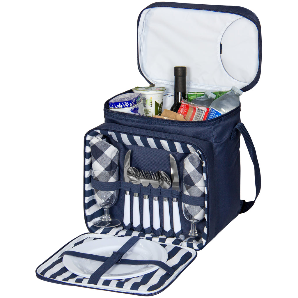Best Choice Products 2 Person Insulated Picnic Bag Lunch Tote W/ Flatware, Plates- Blue