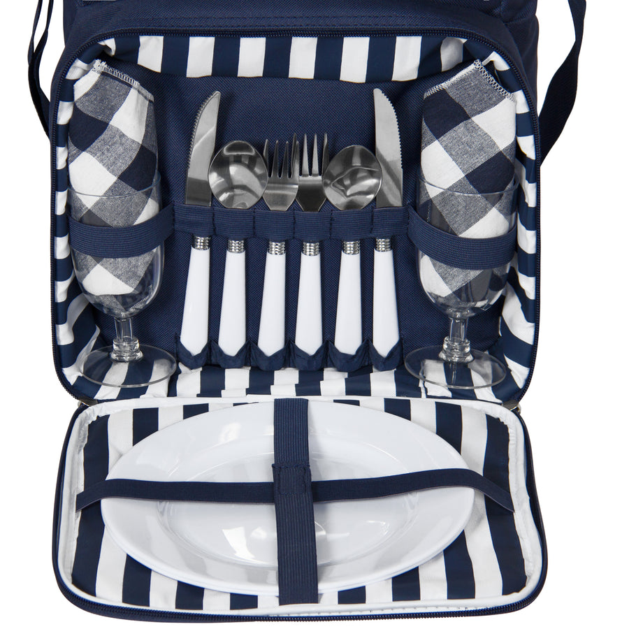 Best Choice Products 2 Person Insulated Picnic Bag Lunch Tote W/ Flatware, Plates - Blue