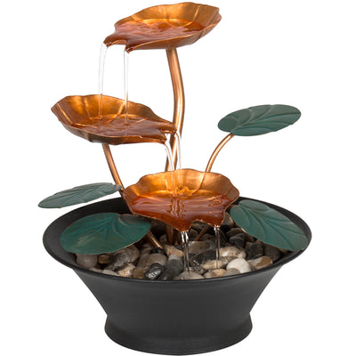 Best Choice Products Home Office Decor Indoor Miniature Water Lily Tabletop Fountain