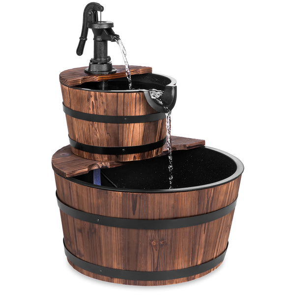 Best Choice Products Outdoor Garden Decor 2-Tier Wood Barrel Water Fountain W/ Pump, Brown