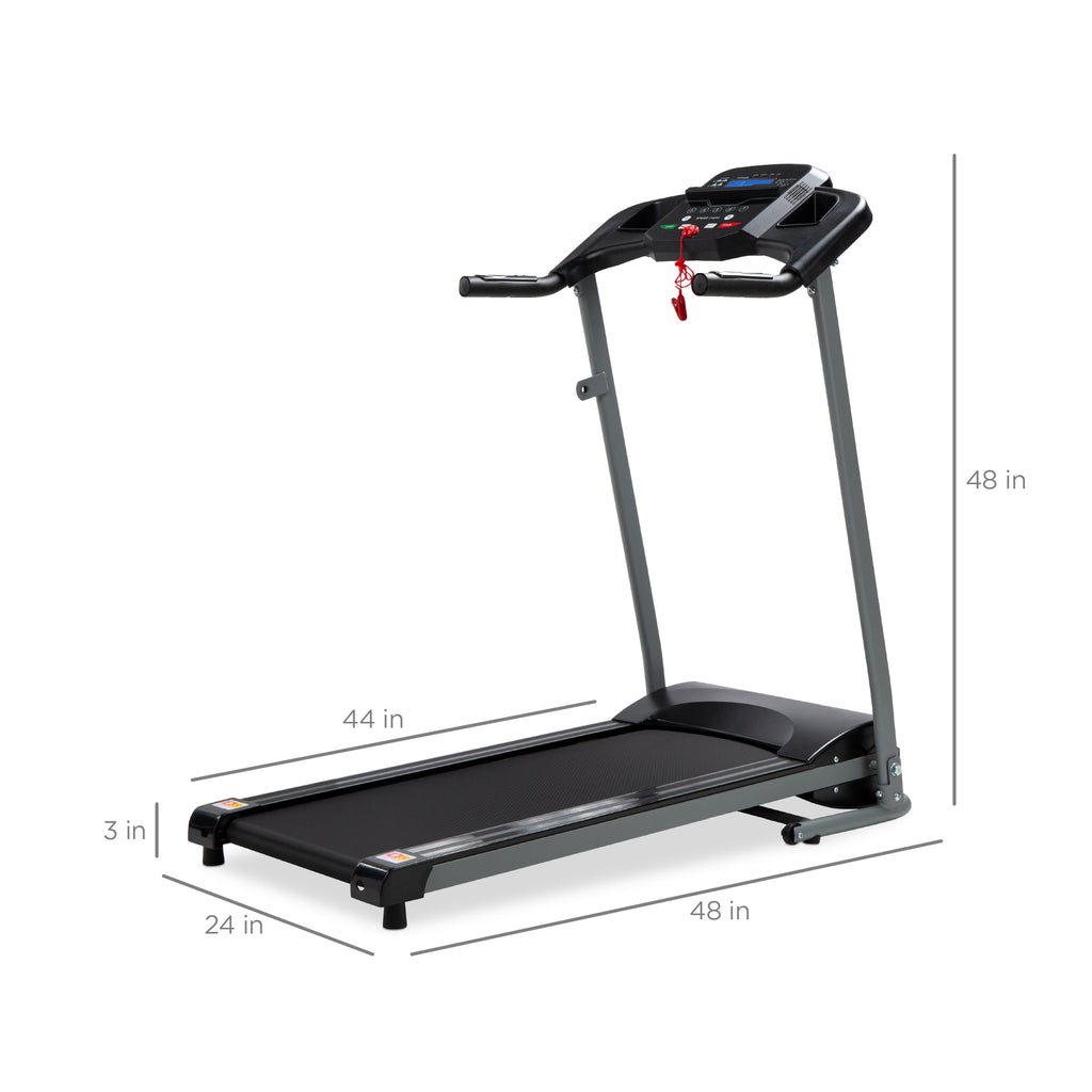 800W Folding Electric Treadmill, Motorized Fitness Machine w/ Wheels