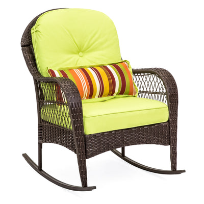 Wicker Rocking Chair Patio Porch Deck Furniture All Weather Proof  W/ Cushions- Green