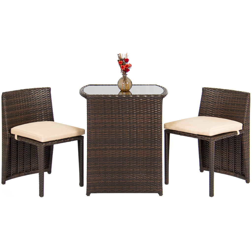 Best choice products outdoor patio furniture wicker 3pc for Small outdoor table and chairs