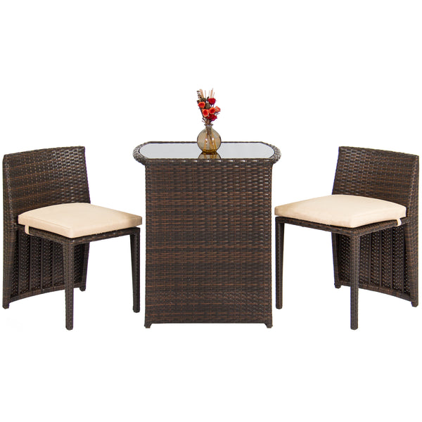 3-Piece Space Saving Wicker And Glass Bistro Set
