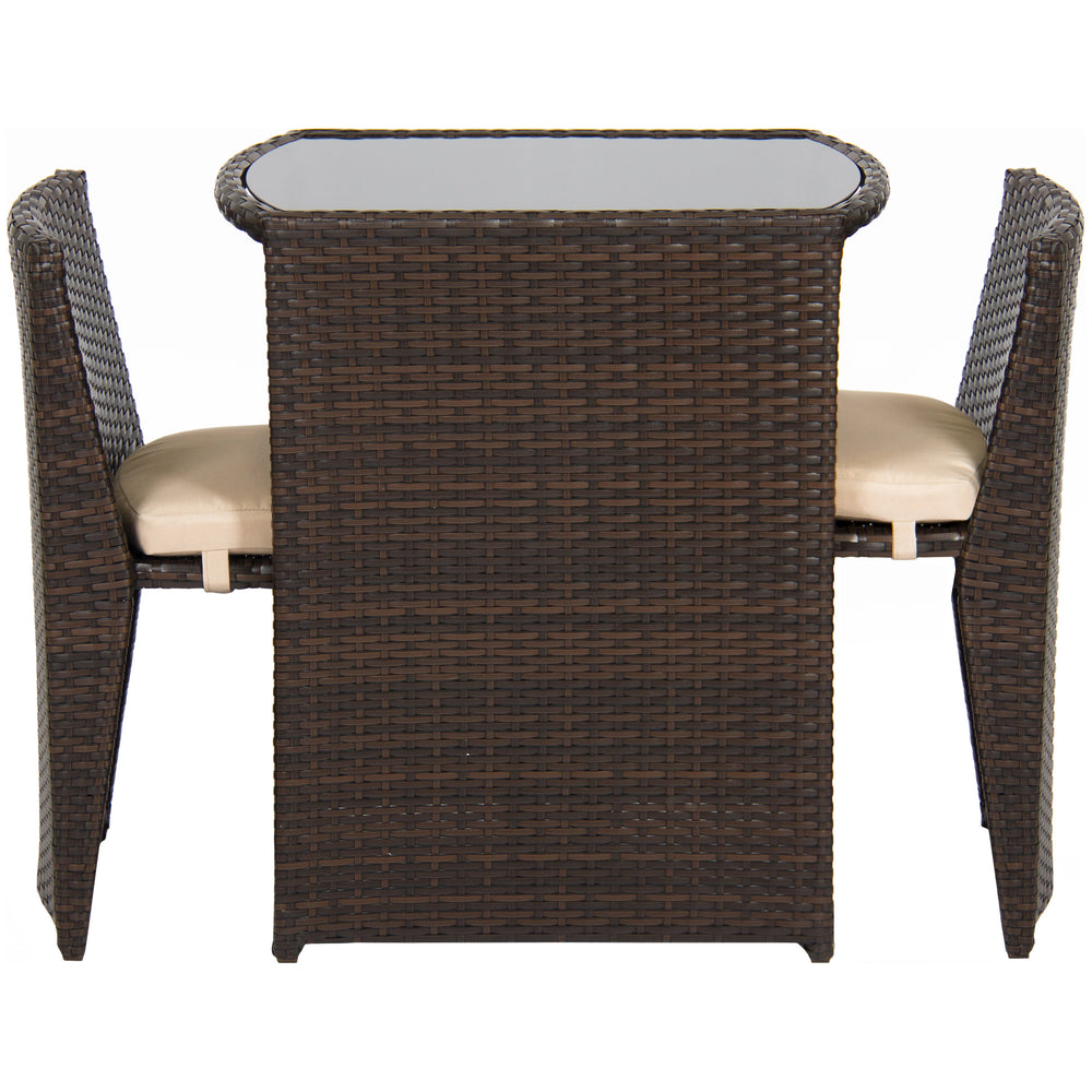 3-Piece Wicker Bistro Set w/ Glass Top Table - Brown – Best Choice ...