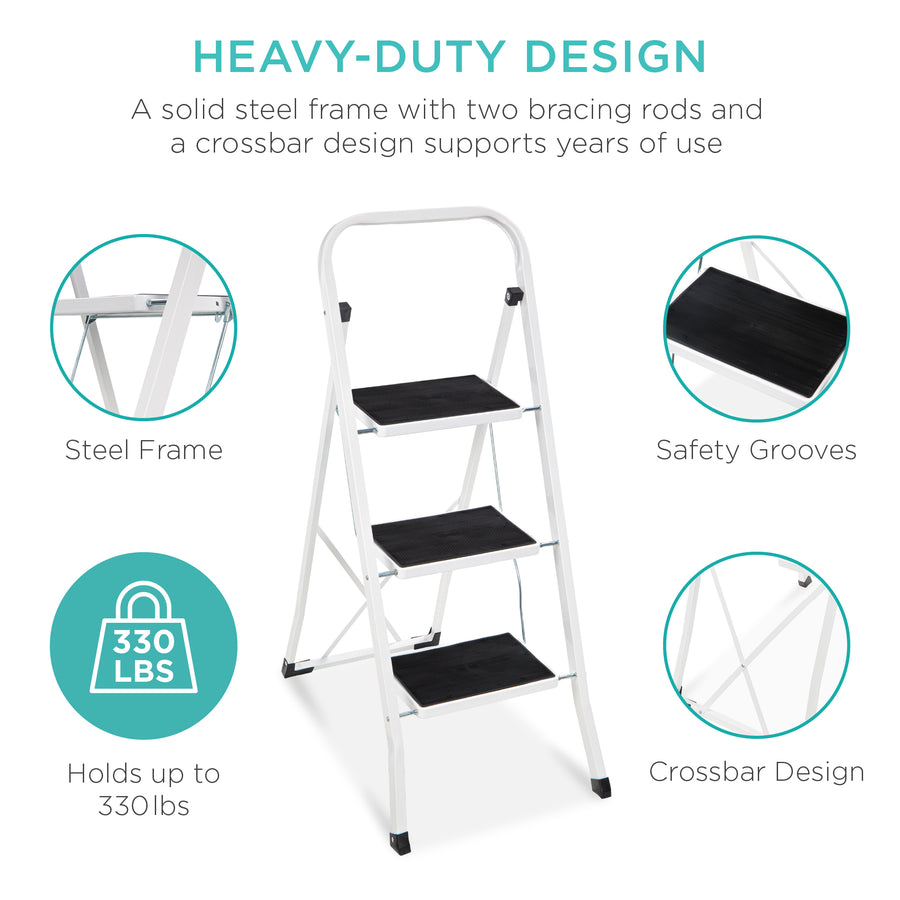 Foldable 3 Step Ladder Best Choice Products