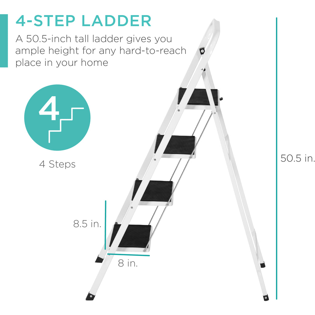 Folding Steel 4-Step Ladder w/ Hand Rail, Wide Steps, 300lbs Capacity