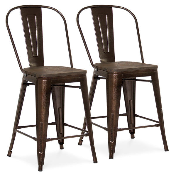 Set of 2 Counter Height Metal Wood Bar Stools - Brown
