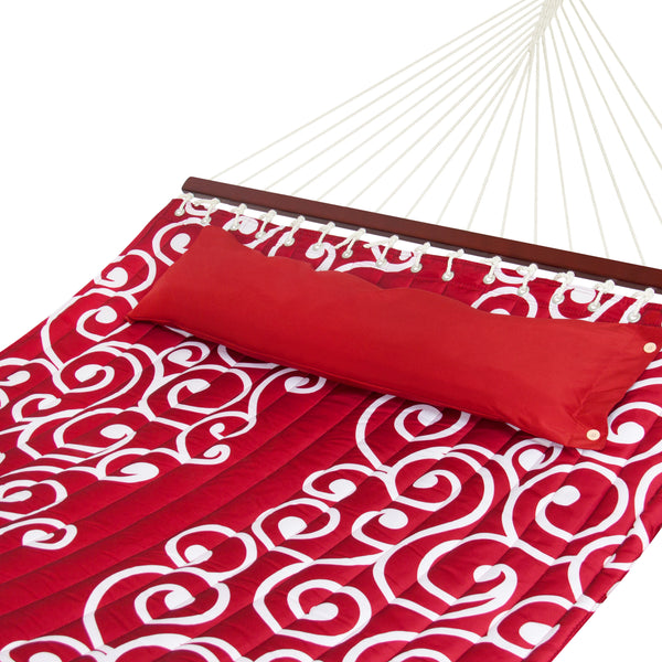Best Choice Products Quilted Fabric Double Hammock W/ Wood Spreader Bar - Red/White