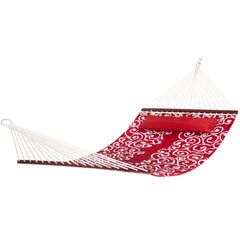 Best Choice Products Quilted Fabric Double Hammock W/ Wood Spreader Bar- Red W/ White Accents