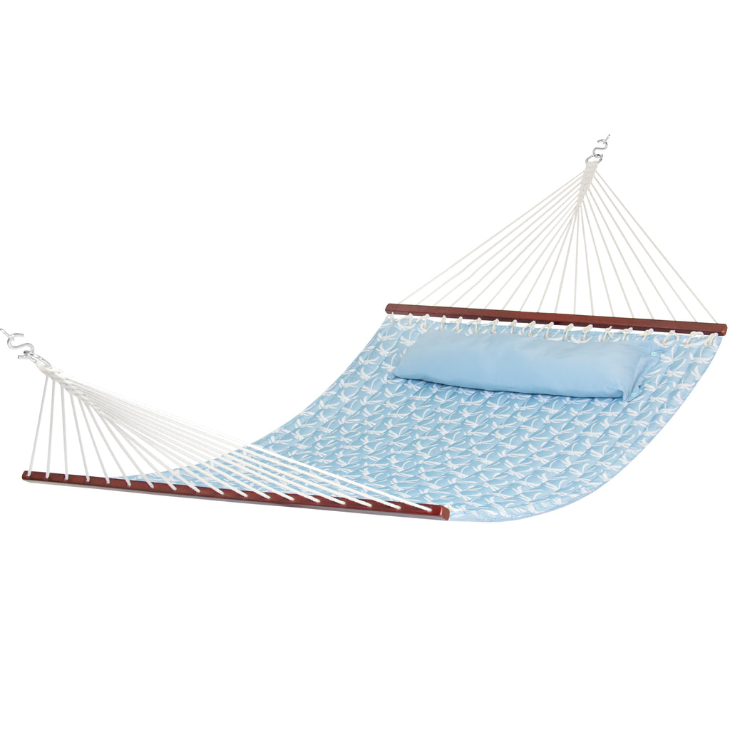 Best Choice Products Quilted Fabric Double Hammock W/ Wood Spreader Bar- Sky Blue W/ Palm Trees