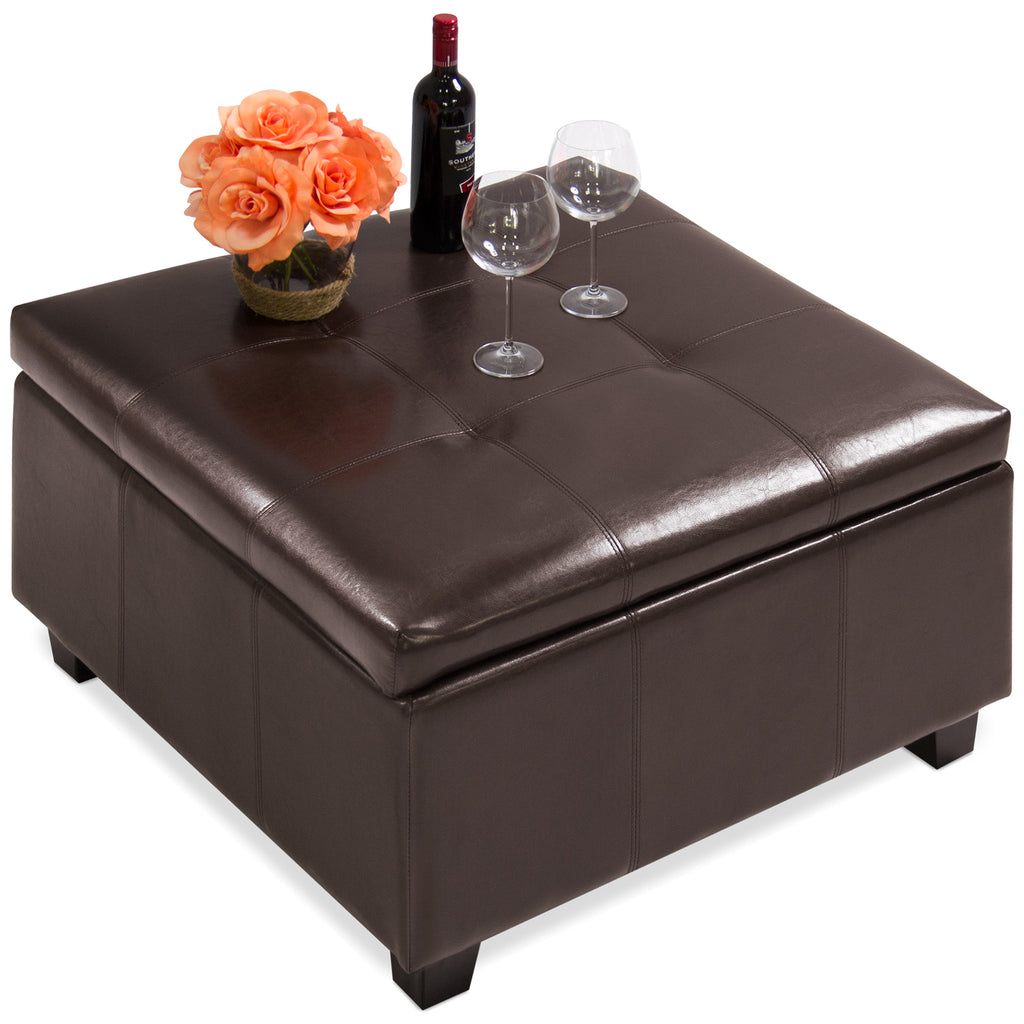 Best Choice Products Home Furniture Leather Storage Ottoman- Espresso Brown