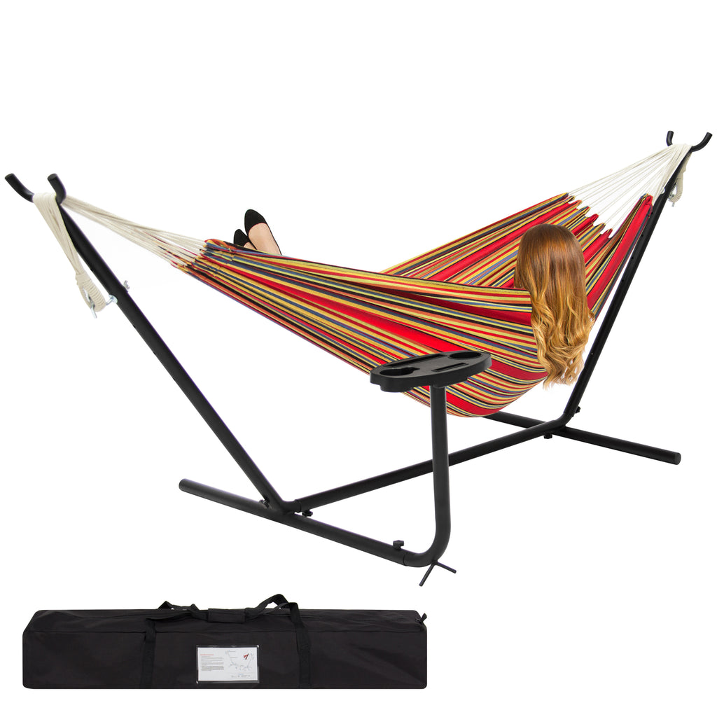 Best Choice Products Double Hammock And Steel Stand W/ Cup Holder Accessory Tray And Carrying Bag- Red Stripe