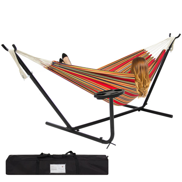 Double Hammock Set w/ Steel Stand, Cup Holder, Carrying Bag - Red Stripe