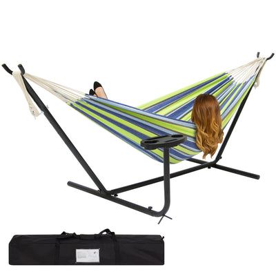 Best Choice Products Double Hammock And Steel Stand W/ Cup Holder Accessory Tray And Carrying Bag- Blue/Green Stripe