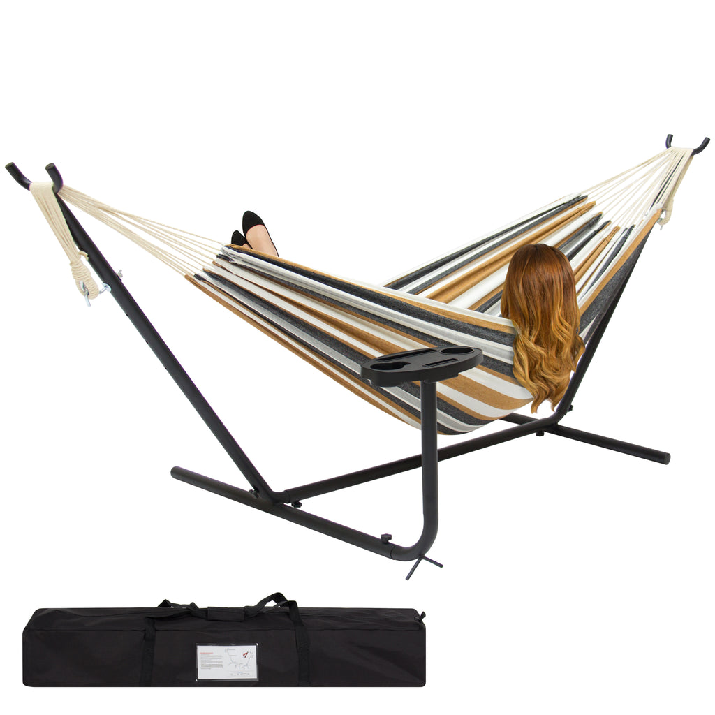 Best Choice Products Double Hammock And Steel Stand W/ Cup Holder Accessory Tray And Carrying Bag - Desert Stripe