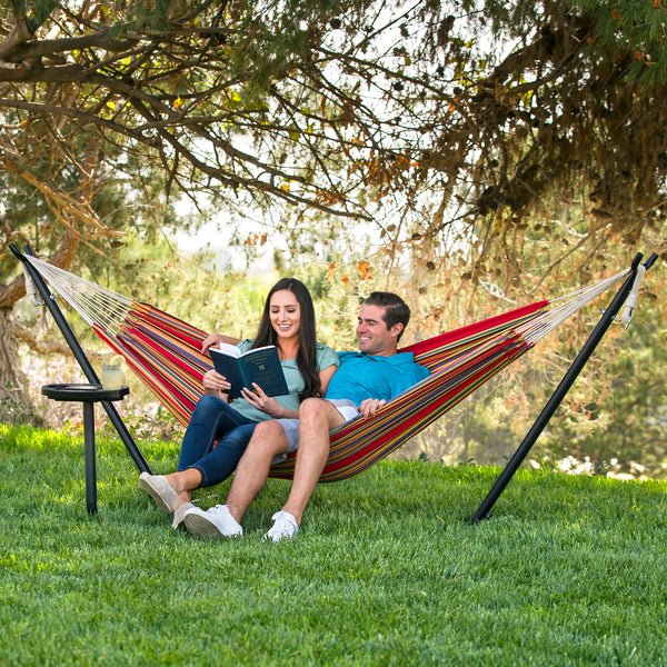 Best Choice Products Portable 10' Hammock Stand W/ Cup Holder Accessory Tray And Carrying Case