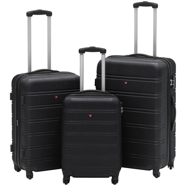 Best Choice Products Hardshell 3 Piece Expandable Spinner Luggage Set - Black