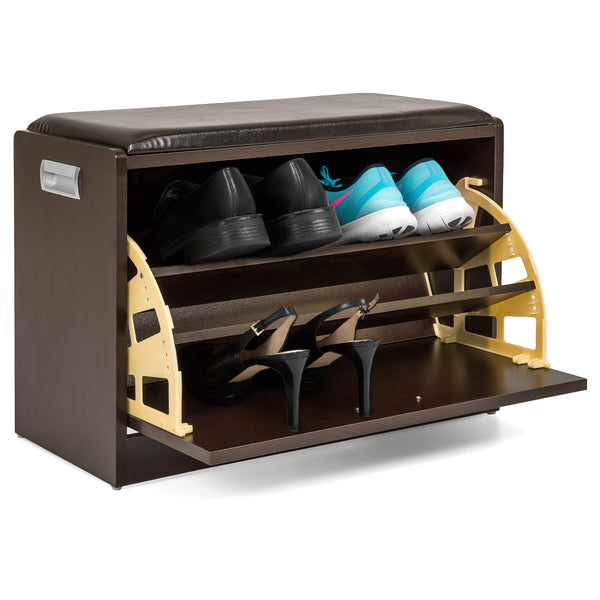 Wood Shoe Bench Storage Ottoman (Brown)