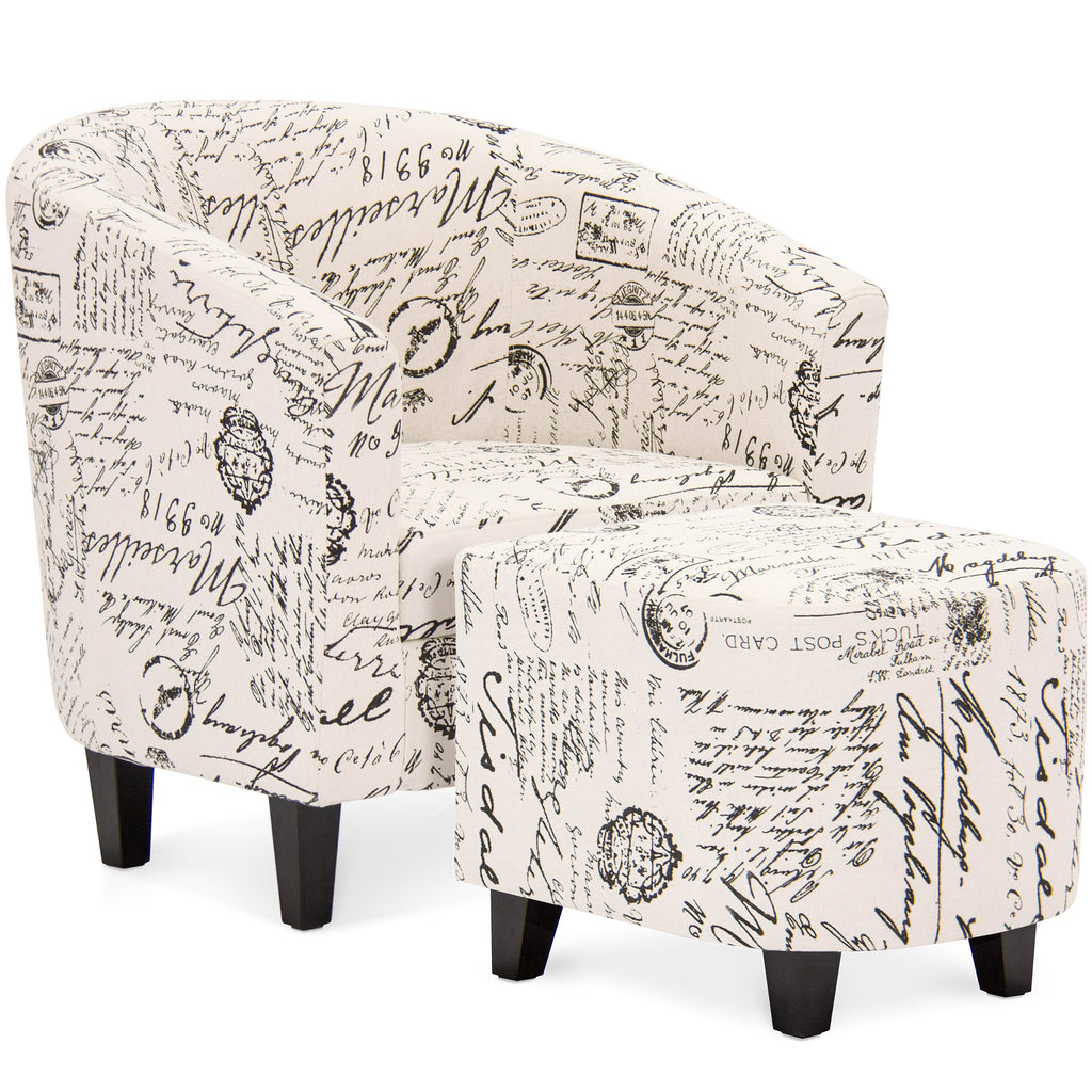 Upholstered Barrel Accent Chair Decor Furniture w/ Ottoman, Birch Wood Legs