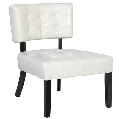 Best Choice Products Home Furniture Deluxe Tufted Leather Accent Chair- Cream White