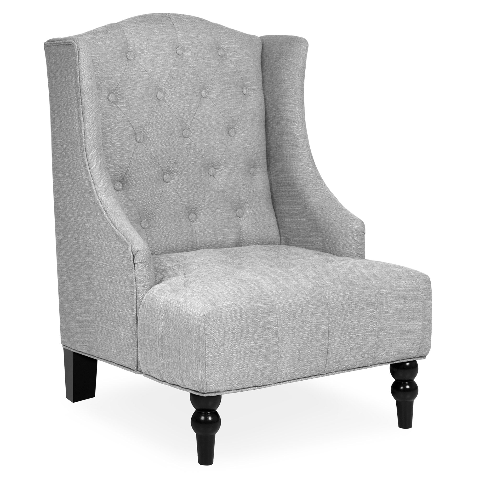 Excellent French Style Tall Wingback Tufted Fabric Accent Chair W Wooden Legs Pabps2019 Chair Design Images Pabps2019Com