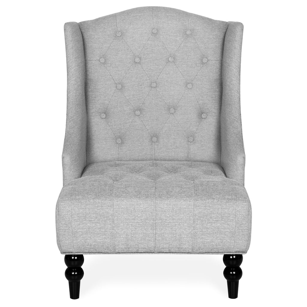 French Style Tall Wingback Tufted Fabric Accent Chair w/ Wooden Legs