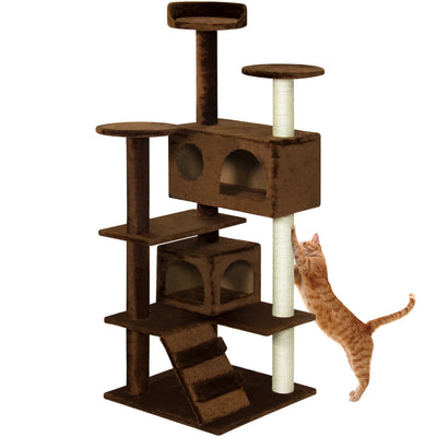 "Best Choice Products 53"" Multi-Level Cat Tree Scratcher Condo Tower- Brown"