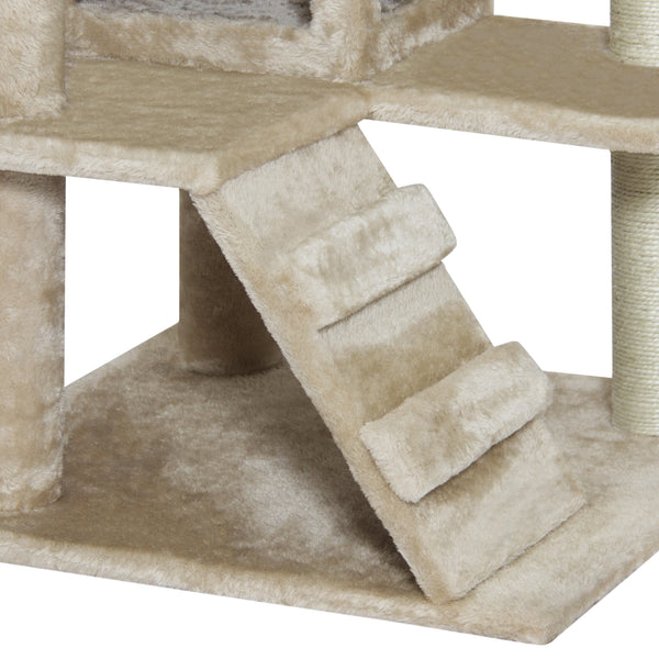 "Best Choice Products 53"" Multi-Level Cat Tree Scratcher Condo Tower- Beige"