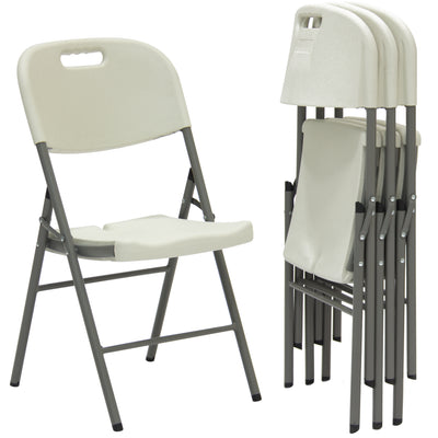 Best Choice Products Set of 4 Folding Chairs Home Office Furniture Indoor/Outdoor- White