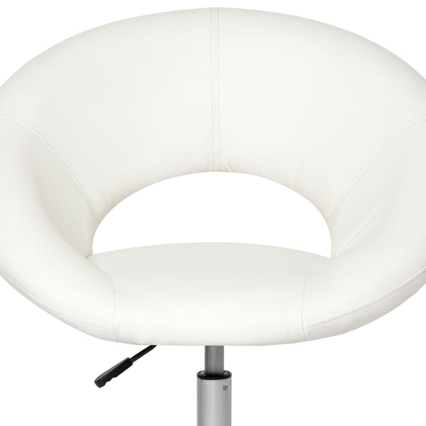 Adjustable Cushioned Leather Round Swivel Chair - White