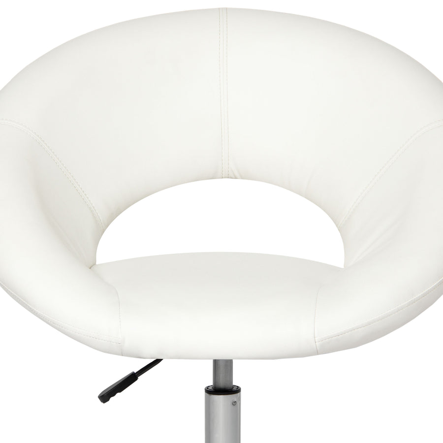 Adjustable Cushioned Leather Swivel Chair - White