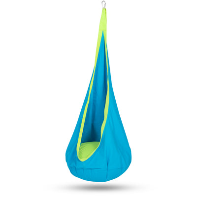 Best Choice Products Indoor/Outdoor Kids Pod Cotton Hanging Swing Chair Hammock, Ideal For Nook Tent- Blue