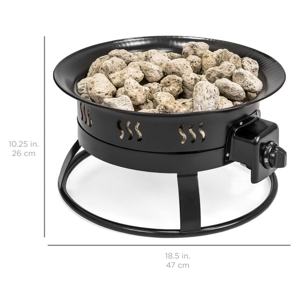 19in Portable Propane Fire Pit - Black