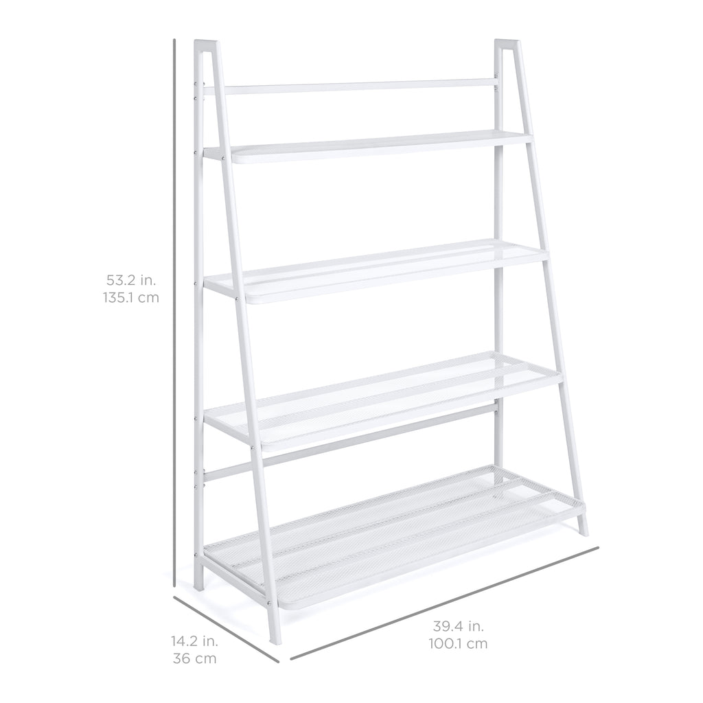 4-Shelf Flower Pot Mesh Stand Shelving Display w/ Iron Frame - White