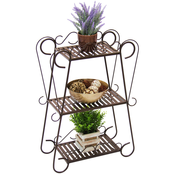 Best Choice Products Outdoor/Indoor Patio 3-Tier Plant Shelf - Brown